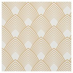 Gold and white art deco pattern fabric. A gold on white art deco inspired motif. Art Deco Fabric, Motif Art Deco, Art Deco Pattern, Art Deco Design, Pattern Design, Gold Pattern, Art Deco Wallpaper, Pattern Wallpaper, Wallpaper Stairs