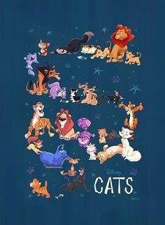 "flimflammeryart: "" The big reveal of my full Disney Cats piece for the WonderGround Gallery in Downtown Disney. So much fun to work on! Disney Pixar, Disney Animation, Disney Cats, Film Disney, Disney And Dreamworks, Disney Cartoons, Disney Characters, Disney Animal Names, Disney Nerd"