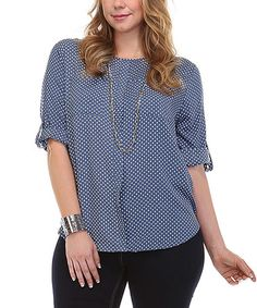 Look what I found on #zulily! Blue Pin Dot Roll-Tab Top - Plus #zulilyfinds