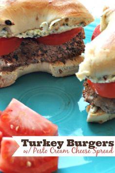 love nerds turkey burgers with pesto cream cheese spread turkey burger ...