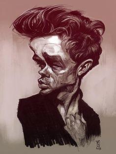 """Caricatura del mítico actor de Hollywood James Dean, realizada por el artista Alberto """"Sting"""