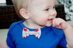 Red and White Crab Bow Tie on Blue Bodysuit Onesie