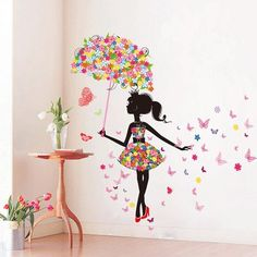 "SWORNA Nature Series SN-50 Lovely Flower Girl with Umbrella Removable Vinyl DIY Wall Art Mural Sticker Decal Decor for Bedroom/Living Room/Playroom/Store/Home Office/HallwayKindergarten 67""H X 57""W SWORNA"