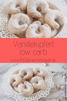 Vanilla kipferl low carb: recipe for Christmas - Low carb vanilla biscuits are the ideal cookie alternative for you if you want to snack without a g - Low Carb Lunch, Low Carb Keto, Low Carb Recipes, Lunch Recipes, Drink Recipes, Vegan Recipes, Vanilla Biscuits, Vanilla Cookies, Dessert Simple