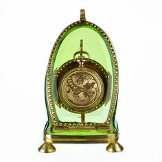 Antique Green Glass & Ormolu Pocket Watch Holder Stand Display Vitrine Box