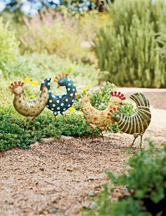 Our hand-painted Funky Chickens really dress up a garden. Sold in pairs, or set of 4.