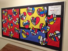 Paint and Paper Mondrian Hearts - cute February project focusing on Primary colors and Line.