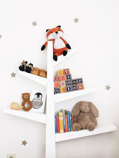See popular baby room themes and nursery ideas at Hayneedle. From pink glam to animal themes, you'll find the right style for your little one. Baby Nursery Themes, Baby Room Decor, Nursery Decor, Nursery Ideas, Bedroom Ideas, Tree Bookcase, Tree Shelf, Kids Wall Shelves