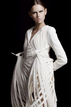 Wearable Art - sculptural bird inspired dress with woven skeletal structure - architectural fashion design // Mark Goldenberg