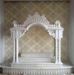 in White with Gold painted and background wall House Arch Design, Temple Design For Home, Pooja Room Door Design, Home Room Design, Dream Home Design, Home Interior Design, Altar, Mandir Decoration, Compound Wall Design