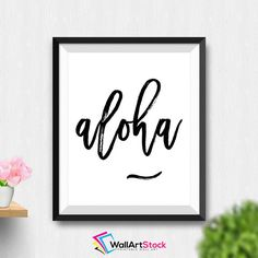 Printable Aloha Wall Art Black And White Aloha Sign Hawaiian Printable Art Hawaiian Prints Beach Vibes Beach Print by WallArtStock Hawaiian Girls, Hawaiian Print, Aloha Sign, Hawaii Homes, Beach Print, Cool Fonts, Fun Fonts, Inspirational Wall Art, Art Party