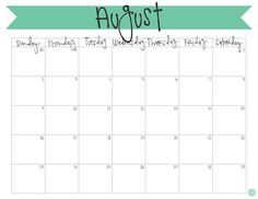 august weekly calendar