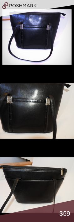 """Brighton Black Leather Large Tote Bag Purse ~NICE Excellent condition Brighton Tote, sturdy leather with Brighton accents.  14"""" wide, 10"""" tall, 4.5"""" deep. 13"""" strap drop.  You'll love this bag. Brighton Bags Shoulder Bags"""