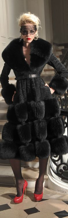 Dior Couture Black Swakara Lamb & Black Fox Fur Coat