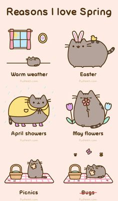 Reasons I Love Spring by Pusheen love cute spring animals cartoon cat happy animated gif pusheen
