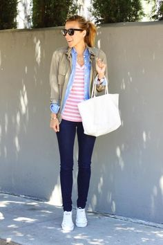 stripes / chambray / skinnies / converse