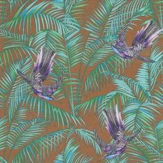 Sunbird (W6543-07) - Osborne & Little Wallpapers - An exotic bird of paradise with boldly coloured leaves, darting through a leaf jungle background.  Shown in the  purple and turquoise on a metallic bronze background. Please request a sample for true colour match.