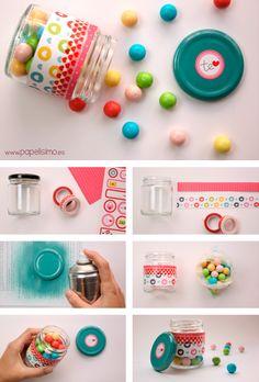 Como-decorar-tarro-para-caramelos-candy-jar Jar Crafts, Crafts To Do, Baby Jars, Washi Tape Crafts, Pots, Christmas Jars, Diy Gift Box, Diy Recycle, Bottles And Jars
