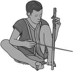 k'ny(k'ni)  / k'ny player / Vietnamese (Jarai) musical instrument / Grayscale image.