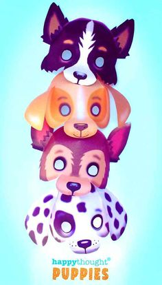 4 printable puppy dog masks: Labrador, Dalmatian, German Shepherd and a Border collie sheepdog. Arts and crafts projects, family craft time or homeschool. Arts And Crafts Projects, Fun Crafts, Crafts For Kids, Collie, Cute Puppies, Dogs And Puppies, Cool Toys For Boys, Dog Mask, Mask Template