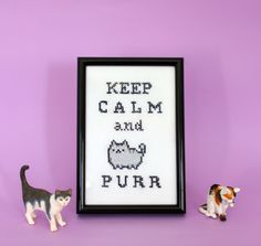 Keep calm and purr cross stitch/ cat pusheen cross stitch by SandraCrosstich on Etsy