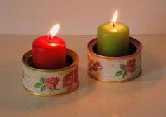 Decoupage-Diy Romantic candleholder tuna cans Tin Can Crafts, Rock Crafts, Diy And Crafts, Christmas Candles, Christmas Love, Christmas Decorations, Tin Can Art, Tin Art, Old Candles