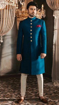 """""""The Only Limit To Our Realization Of Tomorrow Will Be Our Doubts Of Today. Indian Wedding Suits Men, Indian Wedding Clothes For Men, Sherwani For Men Wedding, Mens Indian Wear, Indian Men Fashion, Indian Wedding Outfits, Sherwani Groom, Groom Fashion, Punjabi Wedding"""