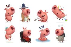 FUNNY PIGS - Illustrations - 2 Pig Illustration, Illustrations, Hand Shadows, Funny Pigs, Piggy Bank, Animal Pictures, How To Draw Hands, Cartoons, Animation