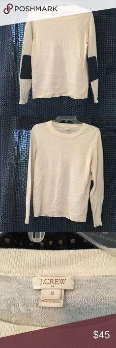 """JCrew Cream Sweater with Brown Elbow Patches Ever wanted to feel like a professor? Look no further! This cream merino wool sweater has brown leather elbow patches that just scream, """"look how smart I am!"""" J. Crew Sweaters Crew & Scoop Necks"""