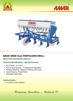 Amar Seed Drill Seed Drill, Agricultural Implements, Seeds, The Unit, Dresses, Vestidos, Agricultural Tools, Dress, Gown