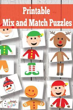 Printable Busy Bag - Christmas Puzzles // Puzzle de navidad imprimible