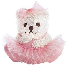 Isn't she lovely? Dressed in a tutu crafted from White Tuk-N-Ruffle and piped-icing fur, this Stand-Up Cuddly Bear Pan cake is sure to capture guests' eyes and hearts.