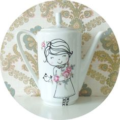 Pottery Painting, Ceramic Painting, Tea Holder, Cute Cups, Sharpie Art, My Tea, Porcelain Ceramics, Clay Projects, Creative Crafts
