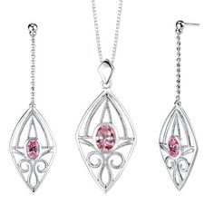 Oval Shape Pink Cubic Zirconia Pendant Earrings Set in Sterling Silver Rhodium Finish . $50.99. Save 65% Off!