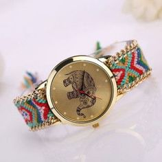 Excellent Quality Fashion Womens Quarzt Watches Handmade Weaved Braided Elephant Bracelet Dial Quarzt Watches