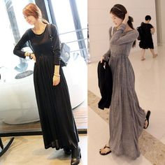 OL Round Neck Long Sleeve Slim Maxi Long Dress