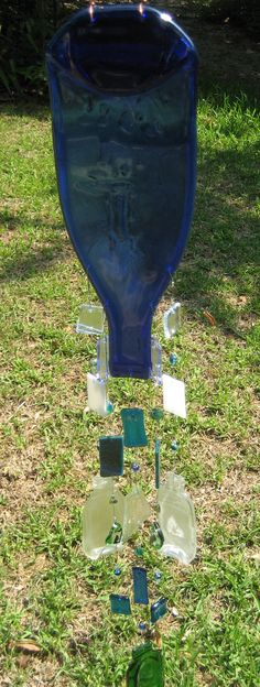 Recycled Wine bottle wind chimes by ColleenGail on Etsy
