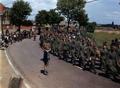 The first German POWs arriving in England, shortly after d-day. June, 1944. Original colour.