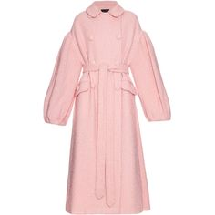 Simone Rocha Oversized sparkle wool-blend coat ($2,051) ❤ liked on Polyvore featuring outerwear, coats, pink, pink oversized coat, wool blend coat, oversized coat, simone rocha and pink coat