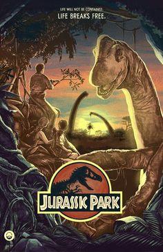 Jurassic Park from artist Nicolas Barbera - Print Poster Wall Decor - Movie Poster Jurassic World Park, Jurassic Park Poster, Jurassic Park Trilogy, Jurassic Park 1993, Jurassic World Fallen Kingdom, Jurassic Park Quotes, Jurassic Movies, Jurrassic Park, Park Art