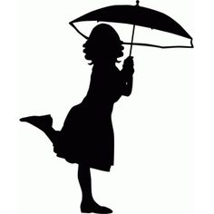 Silhouette Design Store - View Design #56452: girl with umbrella silhouette