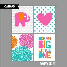 Pink, Orange, Turquoise, Girl Nursery Canvas art prints, Dream Big Little one, Elephant, Heart, Set of 4 11x14. ( COHPOTDG) ( CAS1114017 )