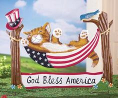 #30043 Patriotic Cat Hammock Garden Stake by sensationaltreasures