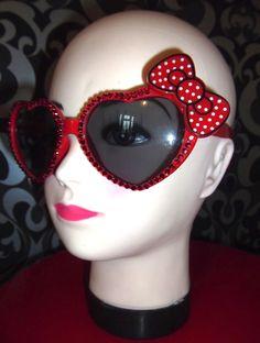 Customised heart shaped rhinestone sunglasses red polka dot hello kitty bow. $20.00, via Etsy.