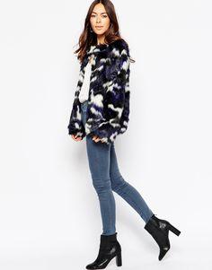 Image 4 ofInfluence Camo Faux Fur Coat