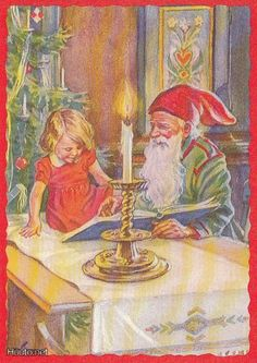 Curt Nyström Whimsical Christmas, Nordic Christmas, Christmas Cards, Baumgarten, Old Cards, Postcard Art, Christmas Villages, Leprechaun, Yule