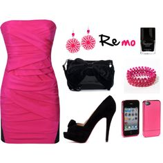 """""""pink black set"""" by snow-white191 on Polyvore"""