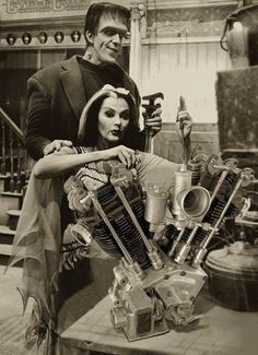 Herman Munster (Fred Gwynne) and wife Lily (Yvonne De Carlo) working on a Harley 'knucklehead' - love to know who to credit for such great photoshopping! Motorcycle Engine, Motorcycle Art, Bike Art, Motorcycle Garage, Motorbike Girl, Harley Davidson Engines, Harley Davidson Motorcycles, Cool Motorcycles, Vintage Motorcycles