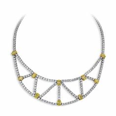 Jeffrey Daniels Fanciful Bib Necklace - Extravagant Web Bib Style Yellow And White Diamond Necklace In 18Kt Gold - Jeffrey Daniels Unique Designs - Collections