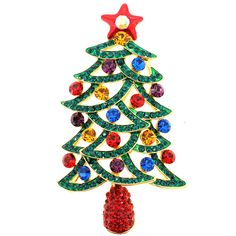 Multicolor Christmas Tree Pin Brooch And Pendant